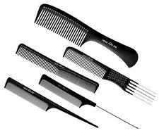 HAIRDRESSING SALON HEADJOG SET OF 5 BLACK COMBS PINTAIL TAIL CUTTING DETANGLE