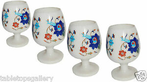 Marble 4 Pcs Wine Glass Lapis Inlay Gem Marquetry Table Decor Casino Glass H1350