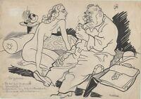 """""""LA PANNE"""" Dessin à l'encre de Chine par BOGISLAS pour LE MERINOS en 1944"""