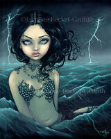 Jasmine Becket-Griffith art print SIGNED Sea Storm mermaid lightning lowbrow pop