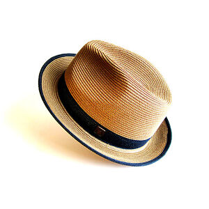 Florence Packable Foldable TwoTone Retro Summer Straw Hat Fedora Trilby