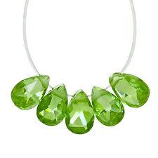 "6 Cubic Zirconia Flat Pear Briolette Beads 4 x 6mm "" Peridot Green "" #96060"