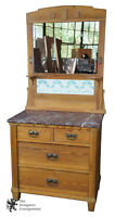 Victorian Antique Pine Marble Top Wash Stand Buffet M.O. P.F. German Tile Mirror