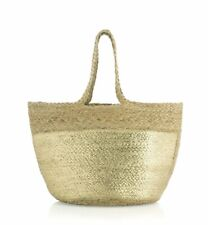 Shiraleah SHANTI Bohemian Jute Tote Handbag Purse Bag Shopping Bag Gold