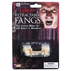 Retractable Vampire Fangs Halloween Costume Accessory Werewolf Wolf Teeth