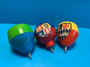 Vtg Collectible Lot Of (3) Three 1969 Mattel Inc Wiz-z-zer Spinning Top Toys