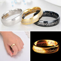Hobbit Lord of the Rings Gold Silver Black Elvish Rune Engraving Ring Band