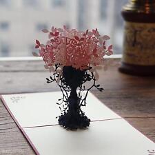 3D Pop Up Flower Flowerpot Handmade Best Wish Greeting Card Kirigami Nice Gift