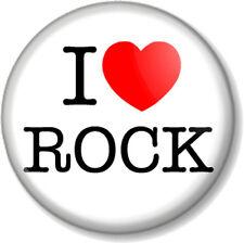 "I Love / Heart ROCK 1"" Pin Button Badge Music Genre Bands Metal Soft Alt Indie"