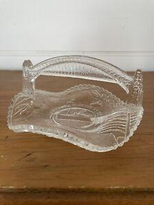 Sydney Harbour Bridge Opening Depression Glass Souvenir Basket Candy Dish 1932