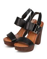 New Women Nature Breeze Maroon-01 Leatherette Open Toe Wooden Slingback Sandal