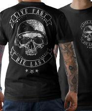 T-SHIRT BIKER Skull live fast Motorrad Chopper Oldschool Schrauber Herren S-5XL