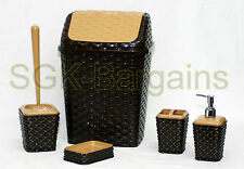 ELEGANT 5PZ Bagno Accessorio Set SPAZZOLINO DISPENSER soaptray spazzatura CHOCO