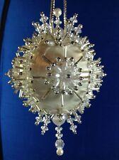 Kit PEARL BLOSSOM WHITE Gramma's Old Attic Christmas Ornament Satin Silk Ball