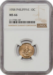 1958 PHILIPPINE 10C NGC MS 66 ONLY 1 GRADED HIGHER!