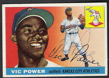 Autographed Vic Power (D.2005) 1955 Topps Card #30 Kansas City Athletics Twins