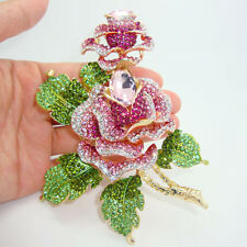 Luxury Rose Flowers Art Deco Gold Plate Brooch Pink Crystal Rhinestone
