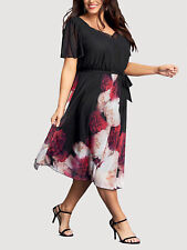Womens PLUS size 24 26 28 30 Dress Black /red  party / cocktail short sleeves