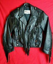 Wilson Women Sz 40 Suede Leather Motorcycle Western Fringed Black bike Jacket
