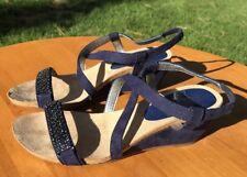 Anne Klein iflex Women's Blue Suede Embellished Wedge Sandals Size 6M US