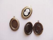 1pz charms ciondolo  portafoto cammeo apribile OVALE 32x23mm  colore bronzo
