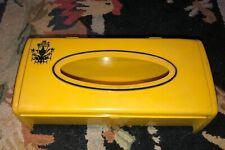 VTG 1970's Tissue Kleenex Box Hinged Holder Cover Plastic Yellow Black Pattern