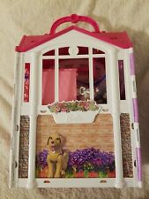 2014 BARBIE GLAM GETAWAY FOLD-N-GO DOLL HOUSE WITH LOTS OF ACCESSORIES!