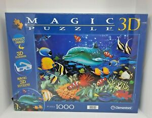 """Family Fun Puzzle 3D MAGIC 1000 PIECE PUZZLE FROM CLEMENTONI  """"DOLPHIN REEF"""""""