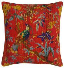 "16"" Throw Kantha Pillow Cushion Cover Bohemian Cotton Indian Handmade Home Decor"
