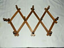 Vintage Wood Expandable Folding Wall Hanging 10 Peg Hat Mug Rack
