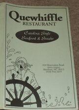 Vintage QUEWHIFFLE RESTAURANT Menu-ABERDEEN, NC-Defunct-Seafood & Steaks