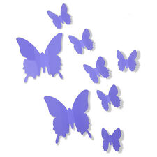 12PCS 3D Butterfly Vinyl Wall Stickers Home Room Wall Decals Decorations Purple