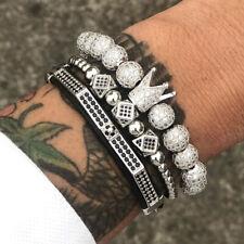 Luxury Gold Pave CZ King Crown Micro Beads Braided Bracelet Set Charm Jewelry