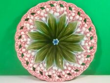 Antique Majolica Pink, White and Green Lily of the Valley Plate c.1800's