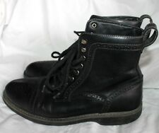 BASS BRYCE MEN'S BLACK LEATHER ANKLE LACER LACE UP BOOTS SZ 7M