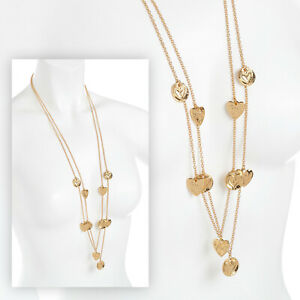 """Beautiful 36"""" long GOLD tone double layered heart charm pendant chain necklace"""