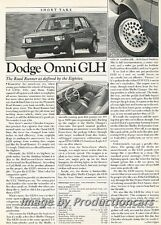 1984 Dodge Omni GLH Shelby Original Car Review Print Article J774