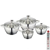 8 Pcs STAINLESS STEEL INDUCTION HOB CASSEROLE SAUCEPAN POT DINING COOKWARE SET