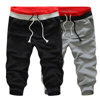 Mens 3/4 knee Casual Sport Rope Baggy Pants Jogger Trousers Capri Shorts#