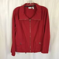 Chicos Size 2 Zenergy Jacket Full Zip Solid Red Long Sleeve Womens Size Large