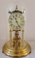 Vintage KUNDO Germany Brass and Glass Dome 400 Day Anniversary Clock
