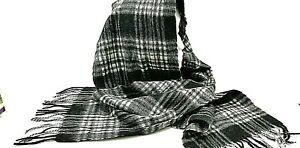 Scarf SCOTLAND Tartan Black White Plaid Wool Winter Muffler Pure Lambs Wool