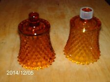 Set Of 2 Home Interiors Amber Colored Diamond Cut Votive Cups Or Candle Holders