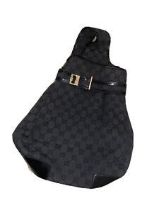 Authentic Vintage Gucci Black GG Canvas Waist Hip Belt Bum Bag Fanny Pack Ex Con