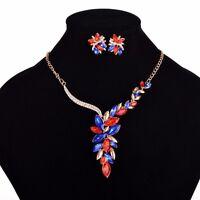 Fashion Crystal Vintage Women Chain Pendant Statement Bib Necklace Set Earrings