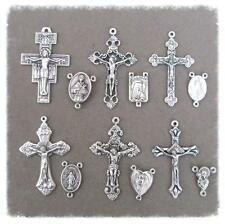 12 Crucifixes & Rosary Centers Make ITALY Rosaries Part Centerpieces S112 Silver