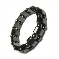 Fashion Black Magnetic Hematite Healing Mens Womens Loose Beads Bracelet