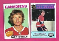 1975-76 TOPPS CANADIENS LARRY ROBINSON + GUY LAFLEUR NRMT-MT CARD (INV# C3489)