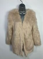 BNWT WOMENS H&M SIZE SMALL CREAM SHAGGY FAUX FUR CASUAL WINTER OVERCOAT JACKET