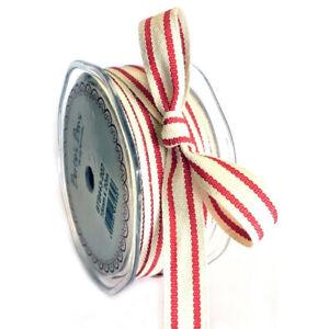 15mm Vintage Red & Cream Ticking Stripe Cotton Ribbon Rustic 1m - 20m Full Roll